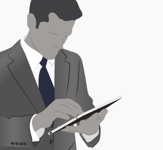 Illustration of person using an iPad