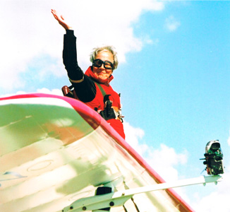 Shirley celebrates her 80th birthday with a charity sky dive