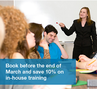 Book before the end of March and save 10% on in-house training
