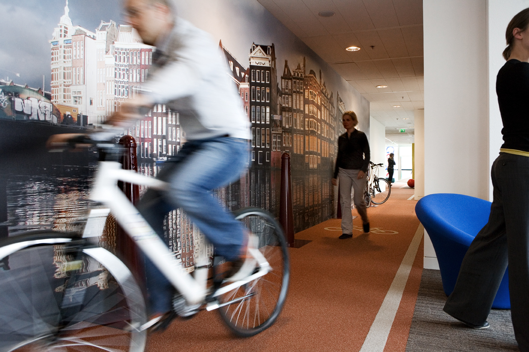 Google is well-known for investing in health. Here's their indoor 'cycle hallway'