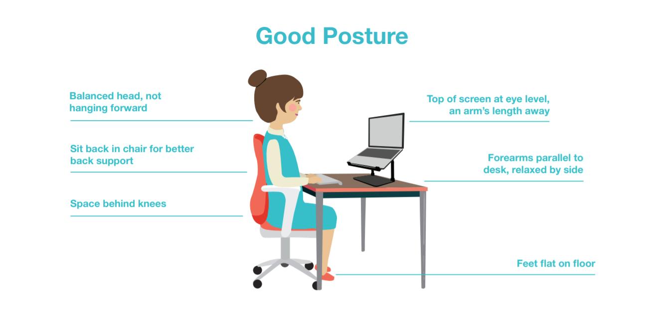 Illustration showing good posture for homeworkers