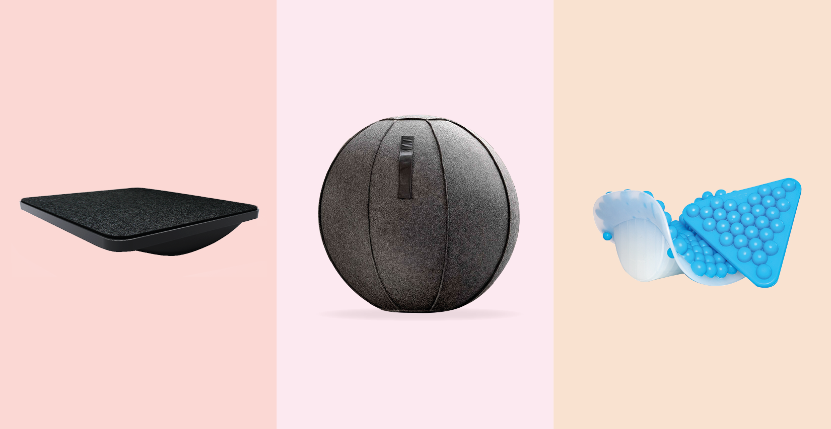 Collage showing MoovRite, Ergo Ball, Posture Key