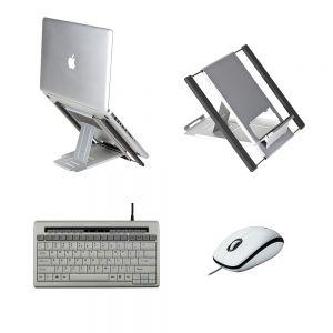 Slim Cool Laptop Stand, S-board 840 (Ergostars) Keyboard & Logitech M100 Mouse