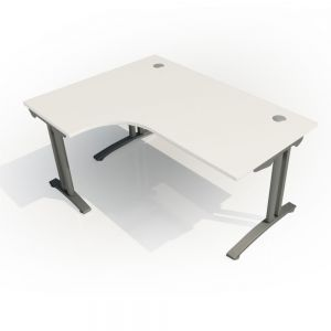 Crescent Fixed Height FT2 Desk - Left Hand - top/side view - White