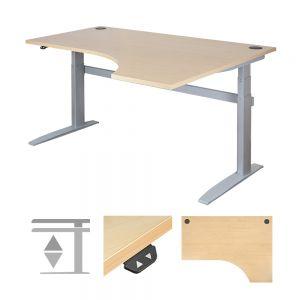 DeskRite 500 Electric Height Adjustable Sit-Stand Desk - Right Corner