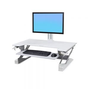 Ergotron WorkFit-TL Sit-Stand Desktop Workstation - white option showing monitor