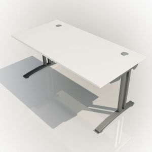 Rectangular Fixed Height FT2 Desk - top/side view - White