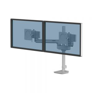 Tallo Modular™ Dual 2FS Monitor Arm - Silver - shown with monitors