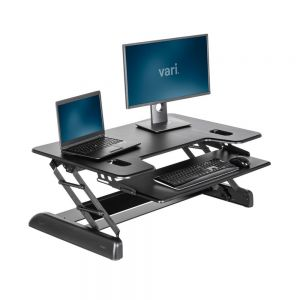 VariDesk® Tall 40 - Black - raised side angle view