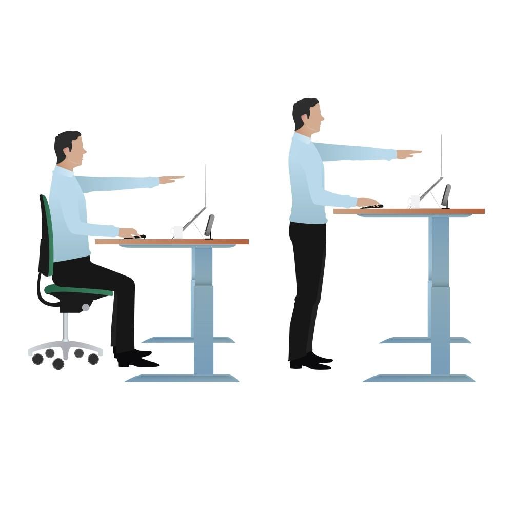 Deskrite 500 Sit Stand Right Wave Desk From Posturite