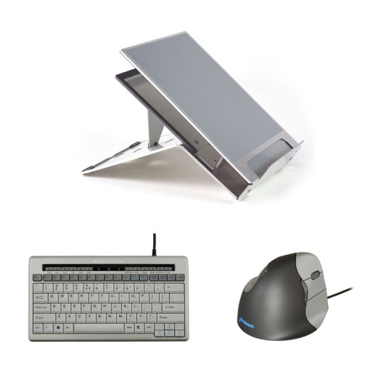 Ergo-Q260 Laptop Stand, S-board 840 Keyboard, Evoluent VerticalMouse Wired