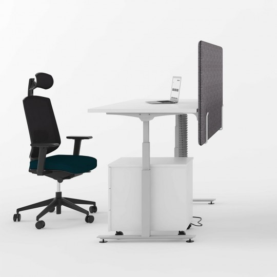DeskRite 350 Electric Sit-Stand Desk - lifestyle shot of white desk and silver frame, with back panel (not currently available)