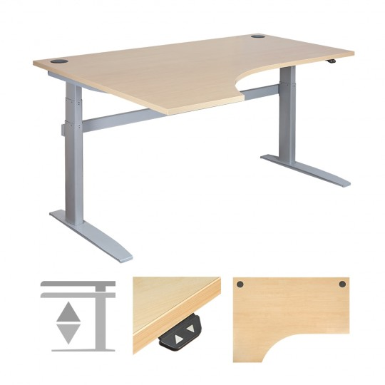 DeskRite 500 Electric Height Adjustable Desk - Left Corner