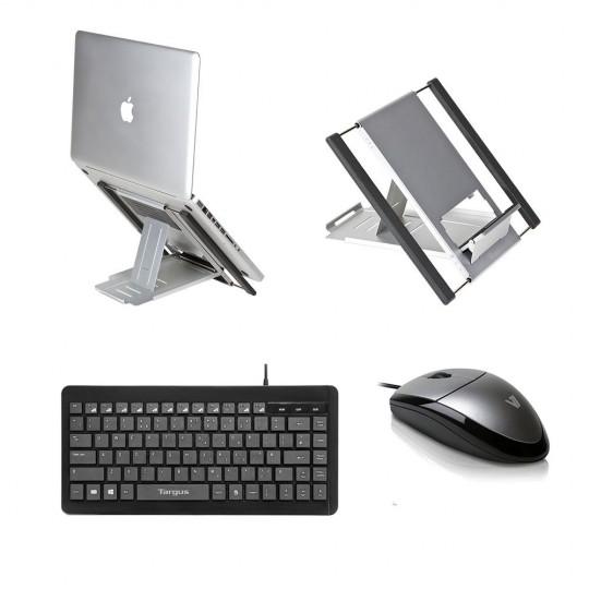 Slim Cool Laptop Stand, Targus Keyboard & V7 MV3000 Mouse