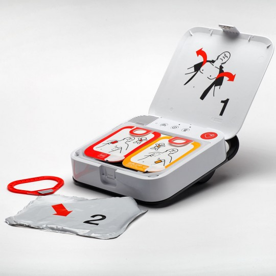 LIFEPAK CR2 Fully Automatic Defibrillator with full WiFi & Handle - open view