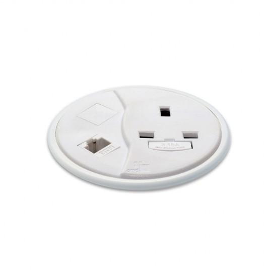 PortHole Through Desk Power Module - White