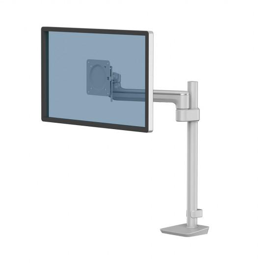 Tallo Modular™ Single 1F Monitor Arm - Silver - shown with a monitor