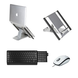 Wired Kit: Slim Cool Laptop Stand, Number Slide Keyboard & Logitech M100 Mouse