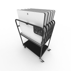 Opløft Storage Rack - front angle view with 5 Opløfts