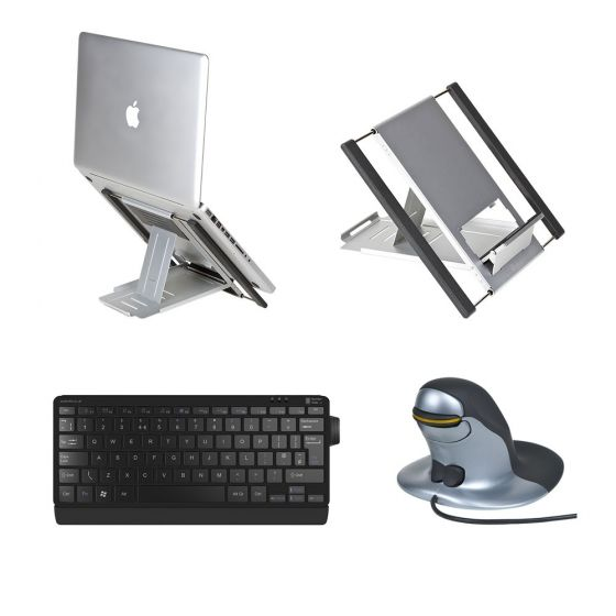 Slim Cool Laptop Stand, Number Slide Keyboard & Penguin Medium Wired Mouse