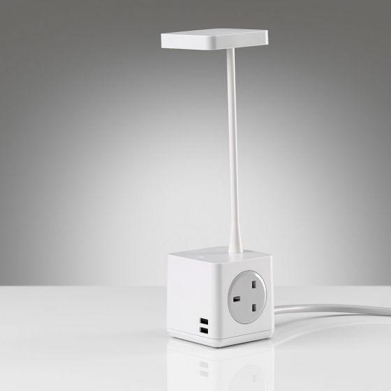 Cubert Desk Light - showing plug & USB ports