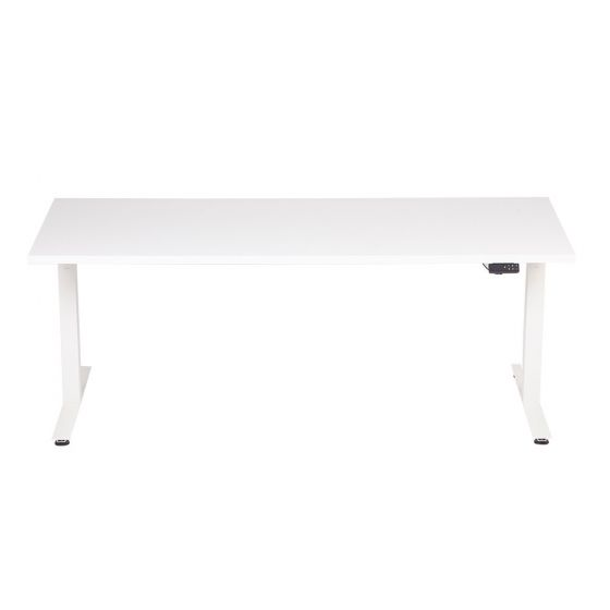 DeskRite 350 Electric Sit-Stand Desk - white desk and frame, front view
