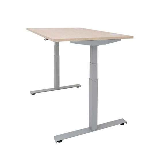 DeskRite 350 Electric Sit-Stand Desk - maple desk and silver frame, side angle view