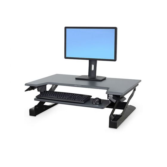 Ergotron WorkFit-T Sit-Stand Desktop Workstation - black option showing monitor