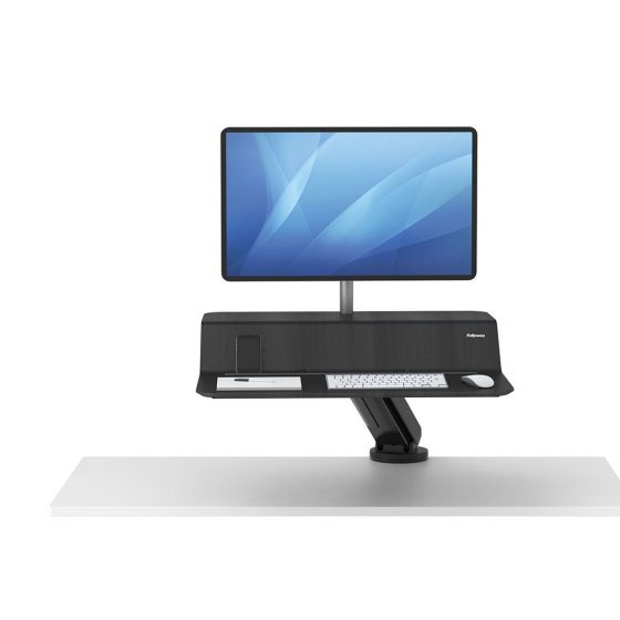 Lotus™ RT Sit-Stand Workstation (Single, Black) - front up view