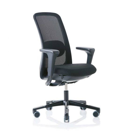 HAG SoFi 7510 Black Frame Mesh High Back Task Chair - front side angle with arms