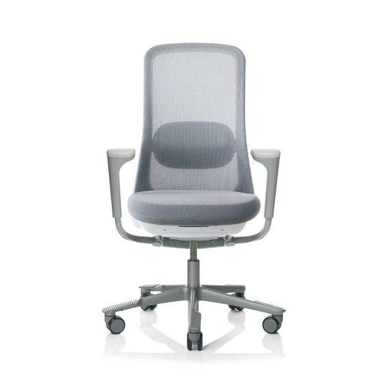 HAG Sofi 7500 Silver Frame Mesh High Back Chair with SlideBack Armrests - Grey
