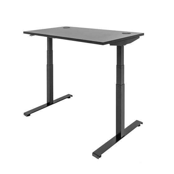 JOSHO Homeworker Electric Sit-Stand Desk - black desk and frame, front angle view, showing standing position