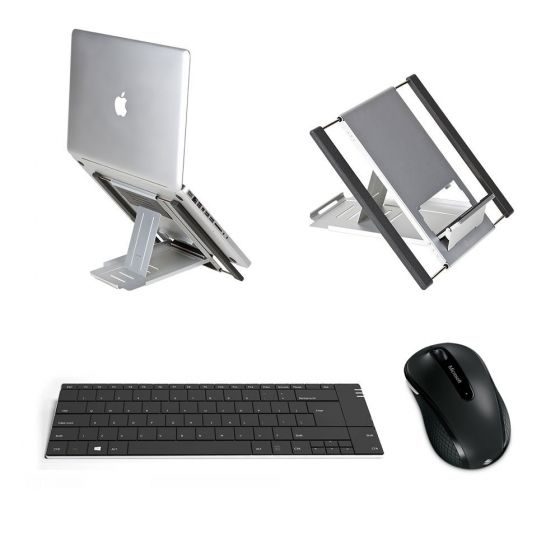 Lap Pack: Slim Cool Laptop Stand, Solo X Keyboard, Microsoft Mobile 4000 Mouse