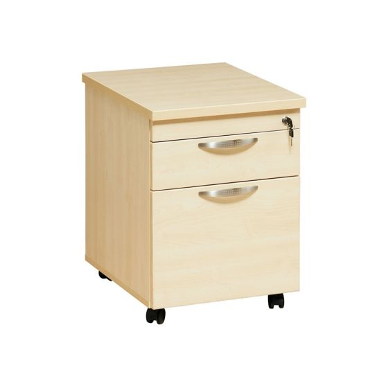 Mobile 2 Drawer Pedestal - Maple - front/side view