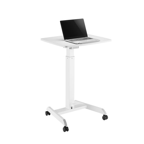 Portable Height Adjustable Desk - front/side view with laptop