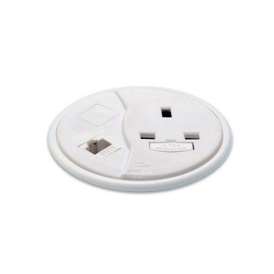 PortHole Through Desk Power Module - White
