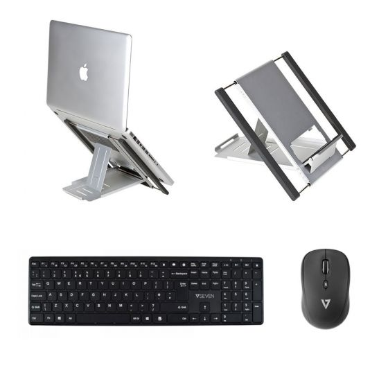 Lap Pack: Slim Cool Laptop Stand, V7 KW550UKBT Keyboard & V7 MW100-1E Mouse