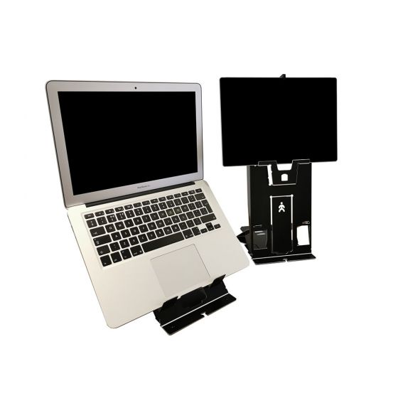 TIO Laptop/Tablet Stand - lifestyle shot, showing laptop and tablet setup