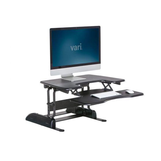 VariDesk® Pro Plus™ 30 - Single Monitor - Black - side angle view