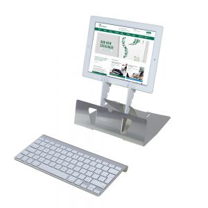 Arrow Tablet Stand (Silver) - raised view