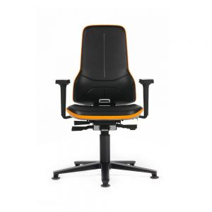 Bimos Neon - Standard Height (450-620 mm), Glides - front view, with armrests and orange flex strip