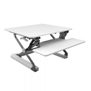 DeskRite 100 Medium Sit-Stand Platform - front/side view - open