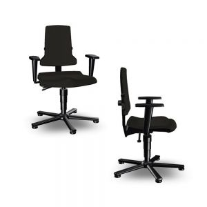 Bimos ESD Sintec - Standard Height (430-580 mm), ESD Glides - front angle and side views, with armrests