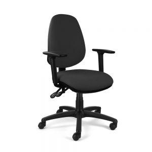 Homeworker Ergonomic Office Chair (high back/standard seat, with armrests) - Black