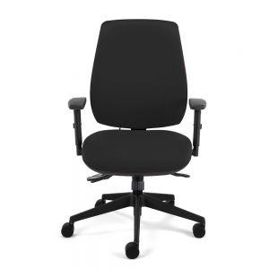Homeworker Plus Ergonomic Office Chair (high back/standard seat, with armrests) - Black