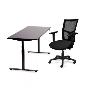 JOSHO Homeworker Electric Sit-Stand Desk - black desk and frame, front side view with chair
