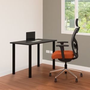 Positiv Homeworker Desk (Foldaway Legs) - lifestyle shot of black desk with black legs