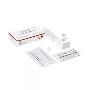 COVID-19 Antigen Lateral Flow Test Kit (single unit) - showing contents of box