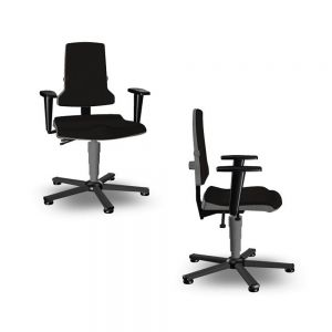 Bimos Sintec - Standard Height (430-580 mm), Glides - front angle and side views, with armrests
