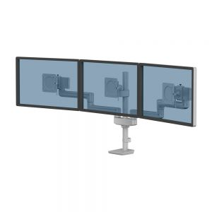 Tallo Modular™ Triple 3FFS Monitor Arm - Silver - shown with monitors